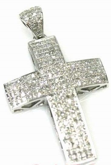Image of 10K GOLD WHITE DIAMOND CROSS PENDANT