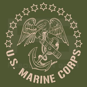 Image of 1804 USMC EAGLE and ANCHOR Long Sleeve Tee, Military Green