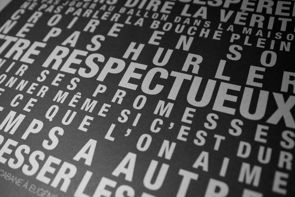 """Image of  Affiche """"Les Regles de la Maison"""" Grand format - Fond noir SOLDE -30%"""