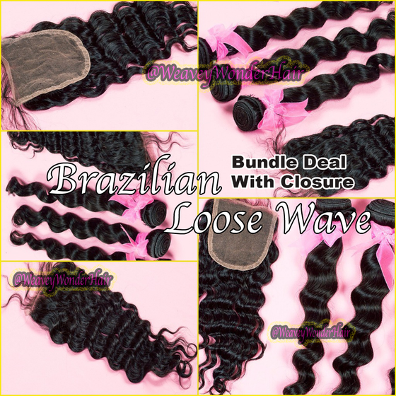 Image of Brazilian Loose Wave Bundle Deal w/ Lace Closure