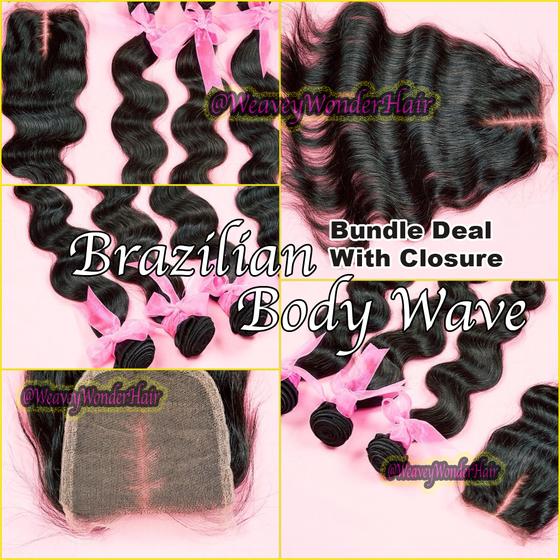 Image of Brazilian Body Wave Bundle Deal w/ Lace Closure