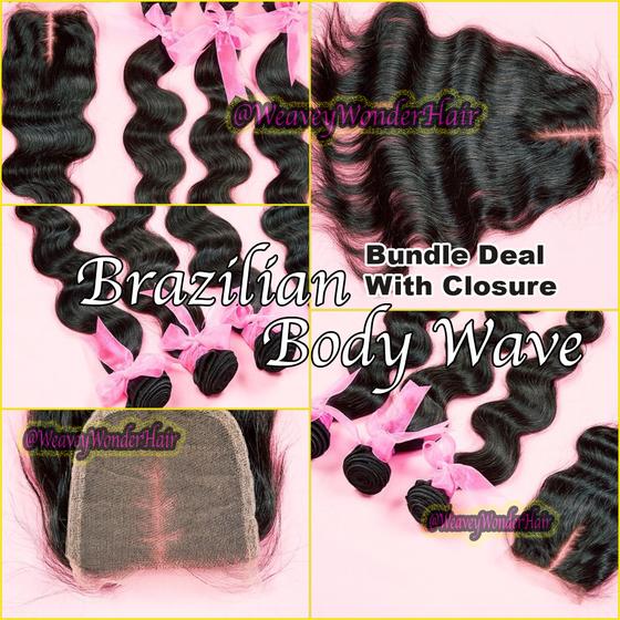 Image of Brazilian Body Wave Bundle Deal w/ Lace Closure