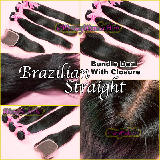 Image of Brazilian Straight Bundle Deal w/ Lace Closure