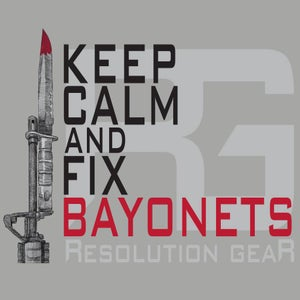 Image of KEEP CALM AND FIX BAYONETS SHORT SLEEVE TEE, HEATHER GREY