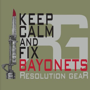 Image of KEEP CALM AND FIX BAYONETS SHORT SLEEVE TEE, LIGHT OLIVE DRAB