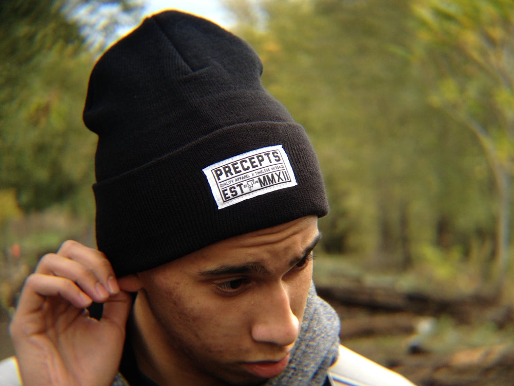 Image of Precepts Winter Beanie Patch Black