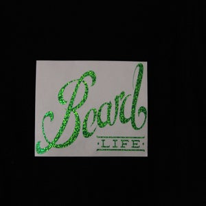 Image of Classic Logo Beard Life Sticker - Green Sparkle