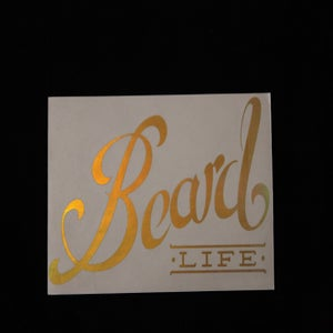 Image of Classic Logo Beard Life Sticker - Oil Slick Gold Chrome