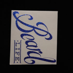 Image of Classic Logo Beard Life Sticker - Blue Sparkle