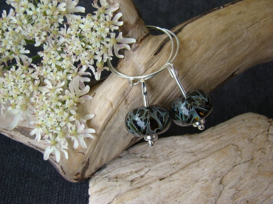 Image of Amorouscharms  Black Night  Large Lampwork Earrings S/S