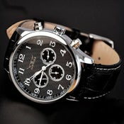 Image of Men's Watch / Antique Watch / Handmade Leather Watch / Automatic Mechanical Watch (WAT0245-Black)