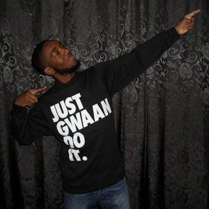 Image of JUST GWAAN DO IT BLACK CREWNECK SWEATSHIRT