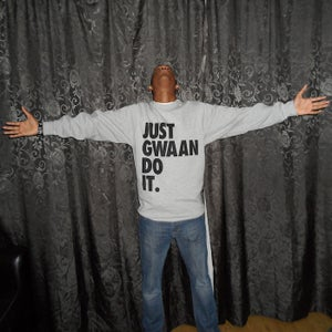 Image of JUST GWAAN DO IT GREY CREWNECK SWEATSHIRT