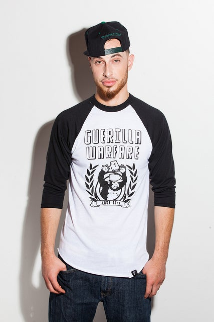 Image of Guerilla Warfare Unisex Baseball Tee Black/White