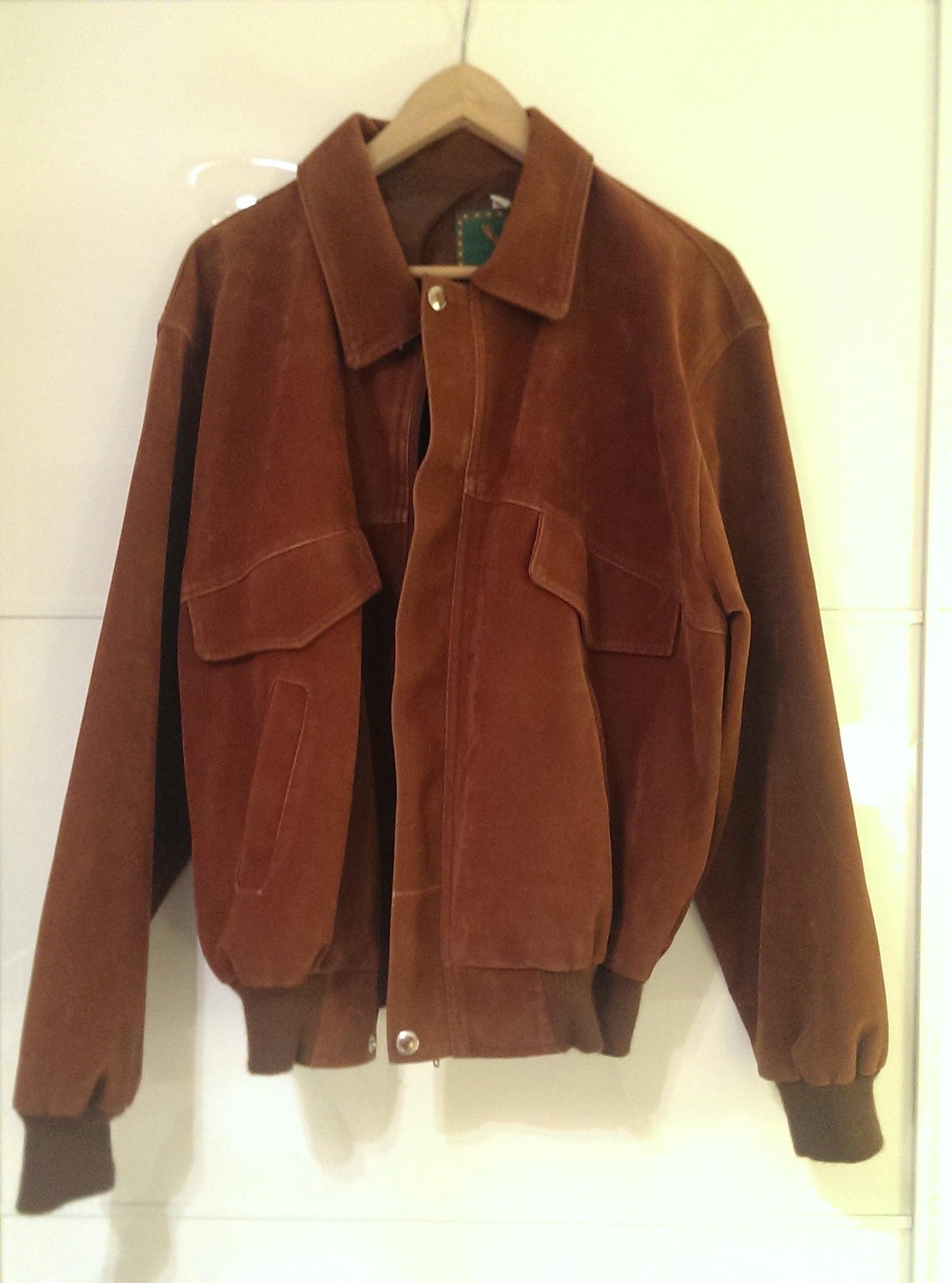 Camel Suede bomber jacket / PopArtVintage