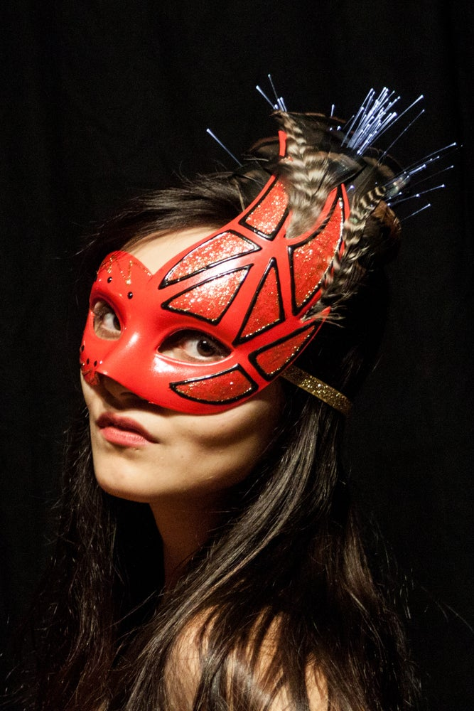 Image of Red Scalene Queen; Fiber Optic Masquerade Mask