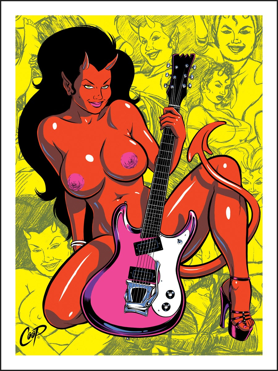 Image of DEVIL GIRL WITH GUITAR Silkscreen Print