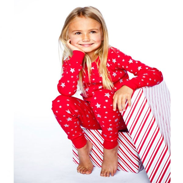 Image of ECO LONG SLEEVE PJ'S, Red & Silver Stars