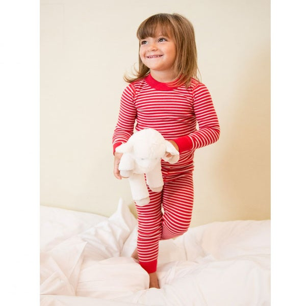 Image of ECO LONG SLEEVE PJ'S, Red & Silver Stripes