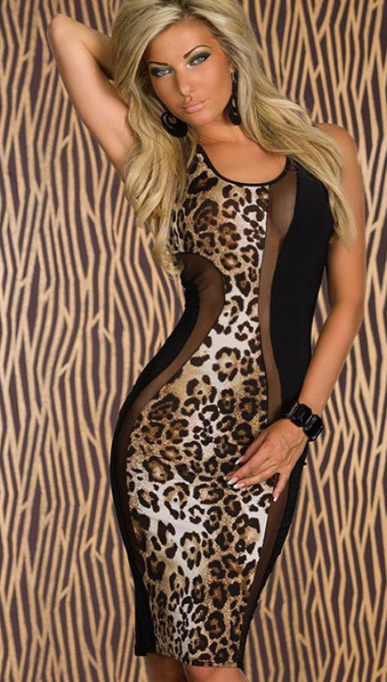 Image of Leopard Mesh Bodycon