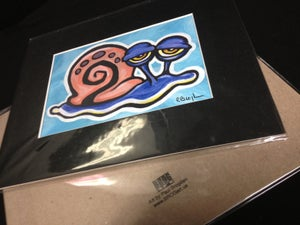 "Image of Gary the Snail - Signed Giclee Print, 8""X10"" with Black mat"