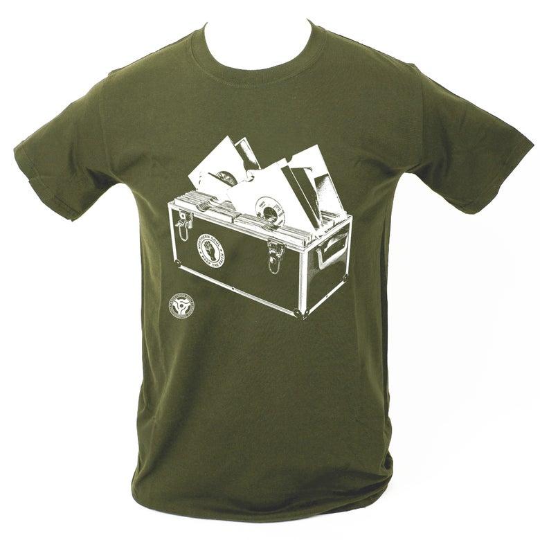 Image of 'Record Box' T-Shirt - Military Green.