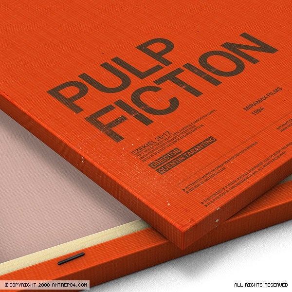 Image of Pulp Fiction poster with brands (10 copies only)