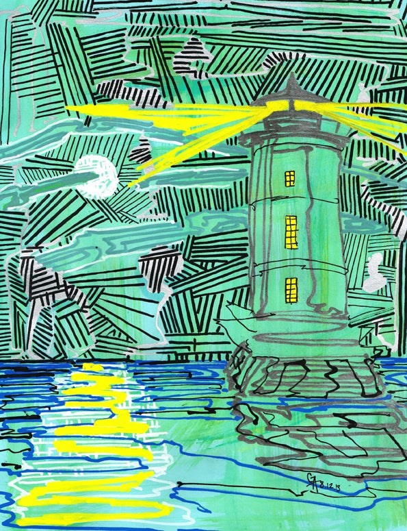 Image of Great Beds Lighthouse, Perth Amboy - SOLD