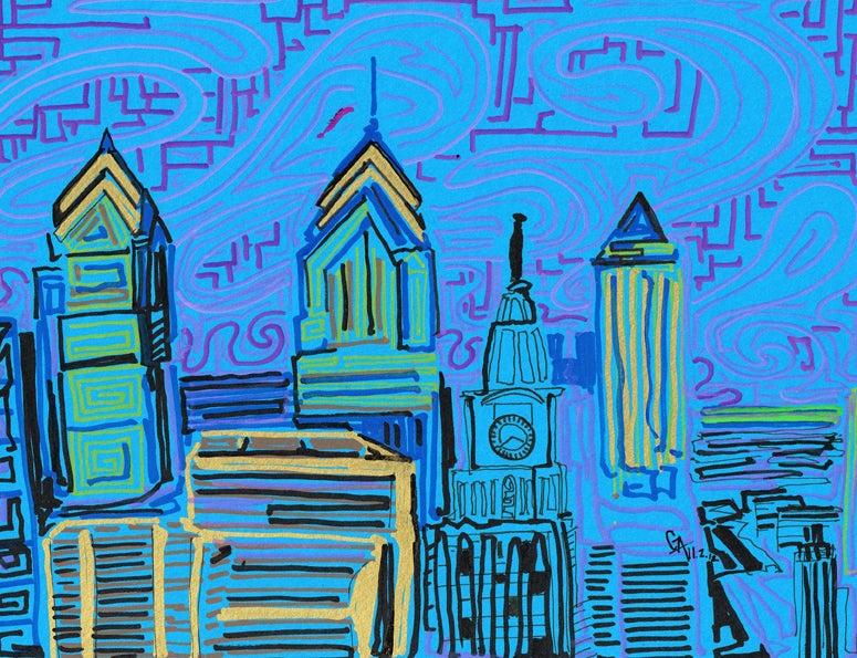 Image of Philadelphia Blue & Pink - SOLD