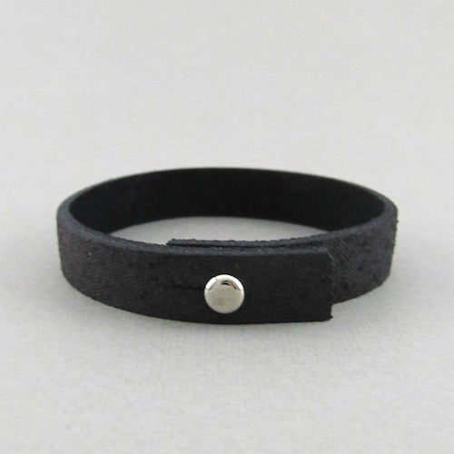 Image of Unisex Distressed Black Leather bracelet