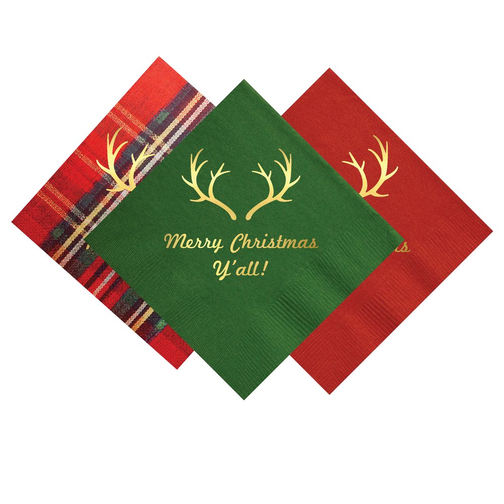 "Image of ""Merry Christmas Y'all!"" Napkins- Set of 25"