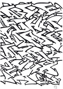 Image of Eido1 Graffiti Alphabet Print B&W
