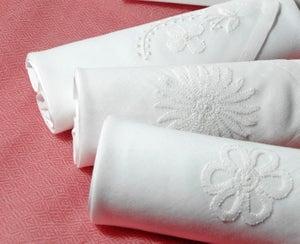 Image of Set of III embroidered White Ladies Hankie