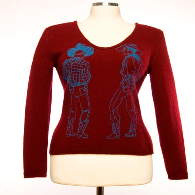 "Image of ""Straight Shooters""  Womens Cashmere Sweater - Maroon"