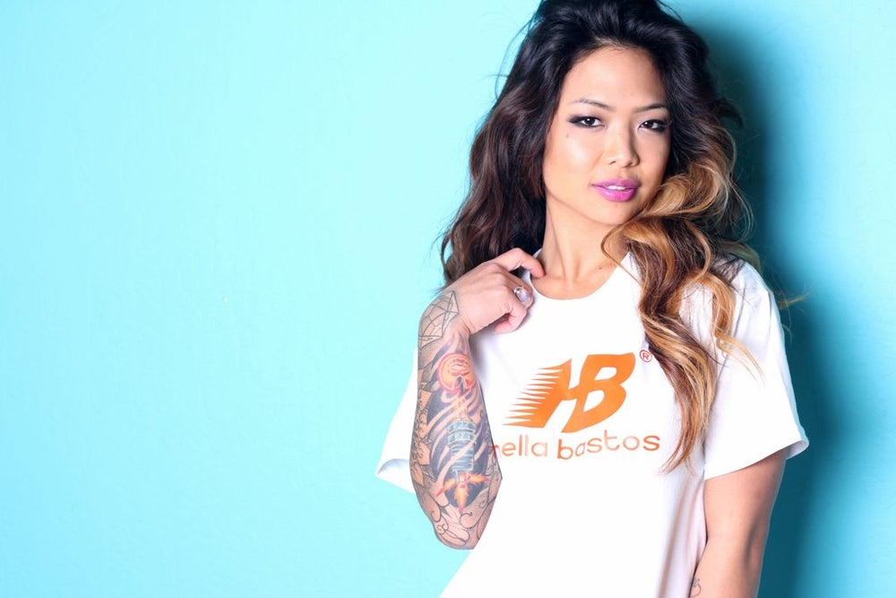 Image of Hella Bastos hBalanced Tee- WHITE/ ORANGE