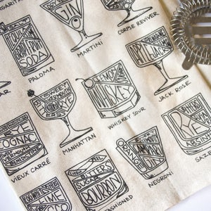 Cocktail Diagram Tea Towel by Alyson Thomas of Drywell Art. Available at shop.drywellart.com