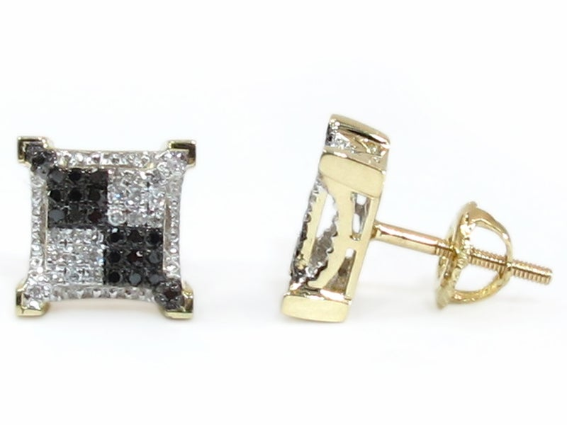 10K GOLD BLACK AND WHITE DIAMOND SQUARE EARRINGS DZ Designs NYC