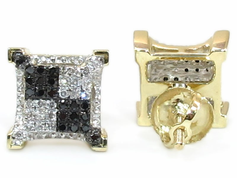 Image of  10K GOLD BLACK AND WHITE DIAMOND SQUARE EARRINGS