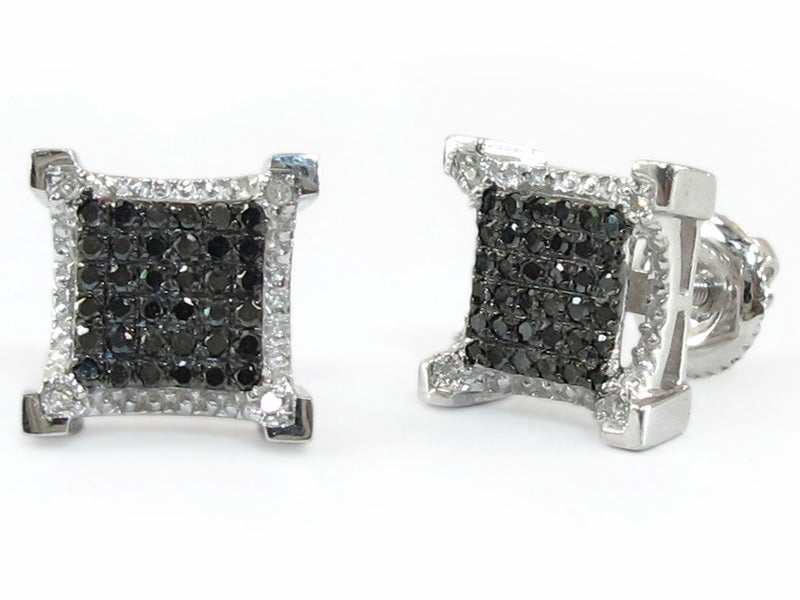 10K WHITE GOLD BLACK DIAMOND SQUARE STUD EARRINGS DZ Designs NYC