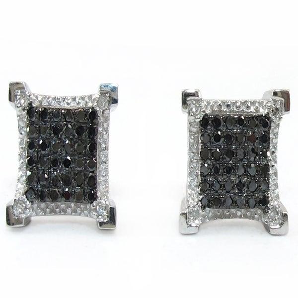 10K WHITE GOLD BLACK DIAMOND SQUARE STUD EARRINGS DZ Designs NYC