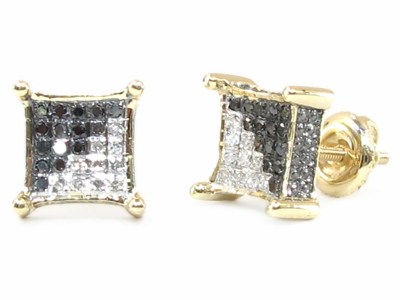 10 KARAT YELLOW GOLD BLACK & WHITE DIAMOND SQUARE EARRINGS DZ Designs NYC