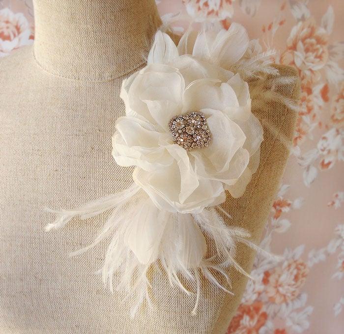 Ivory Silk Chiffon and Rhinestone Flower Bridal Hair Comb with Feather Trim / Emici Bridal