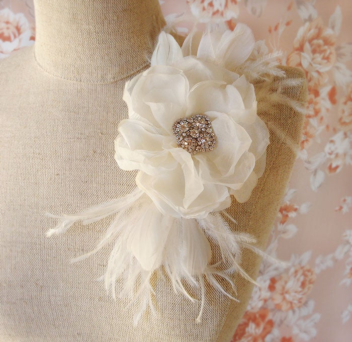 Image of Ivory Silk Chiffon and Rhinestone Flower Bridal Hair Comb with Feather Trim