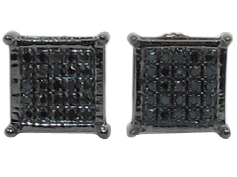 Image of  14 KARAT GOLD BLACK DIAMOND MENS LADIES SQUARE EARRINGS