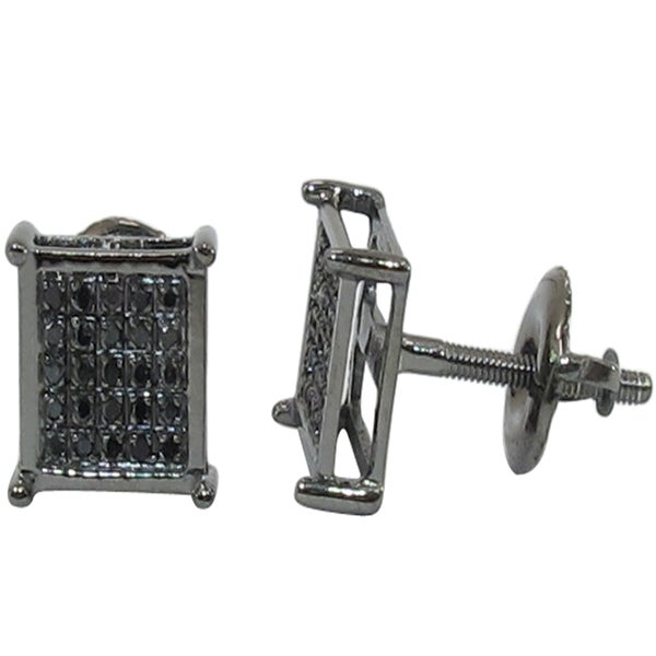 Square black diamond earrings for men