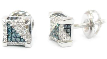 Image of  10K GOLD DIAMOND MENS LADIES SQUARE EARRINGS