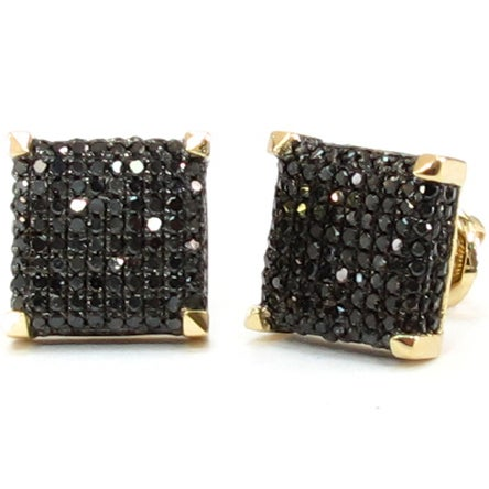 Image of 14K GOLD BLACK DIAMOND 3D SQUARE  EARRINGS