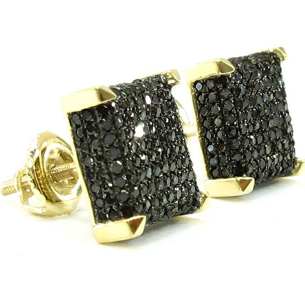Mens Square Cut Diamond Earrings