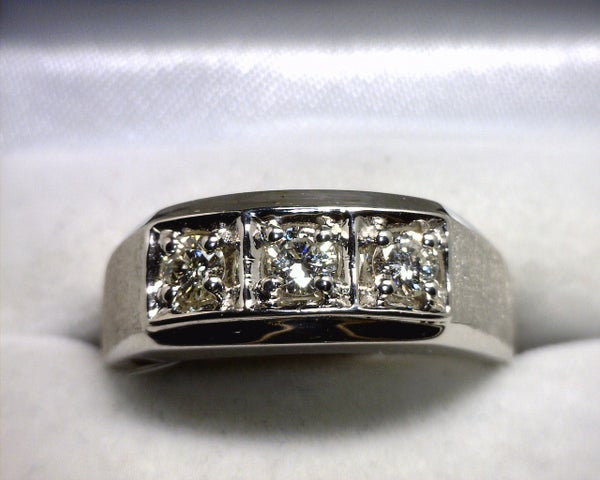 Image of 14K White Gold Men's Diamond Ring (.50CT)