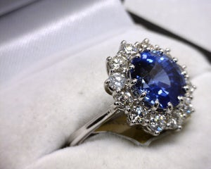 Image of 14K White Gold Ceylon Sapphire(4.28CT) / Diamond Ring
